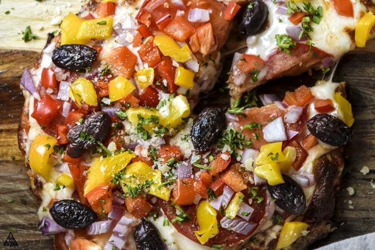 Closer look of cauliflower pizza crust