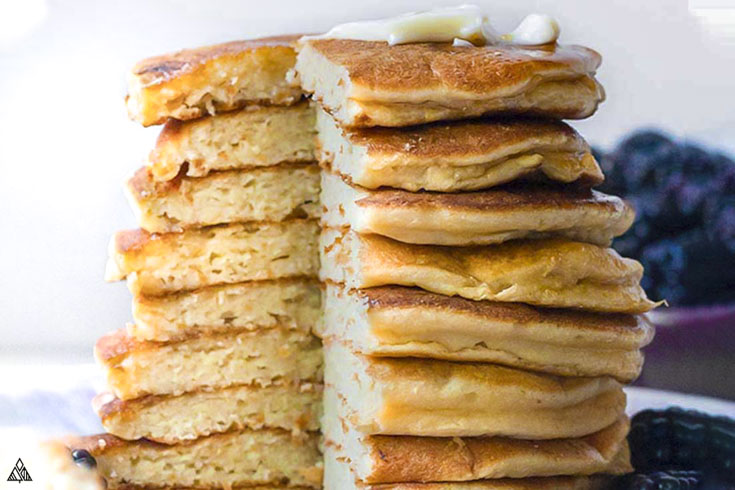 Side view of sliced coconut flour pancakes