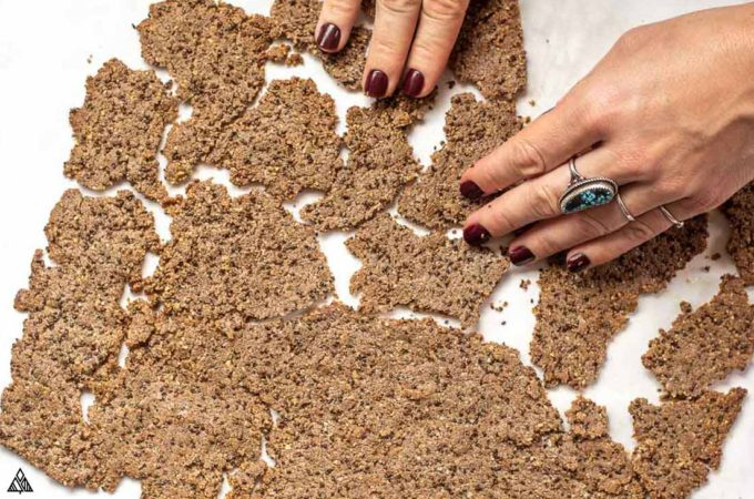 Breaking the flaxseed crackers