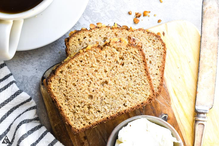 Low carb banana bread and a dressing on the side