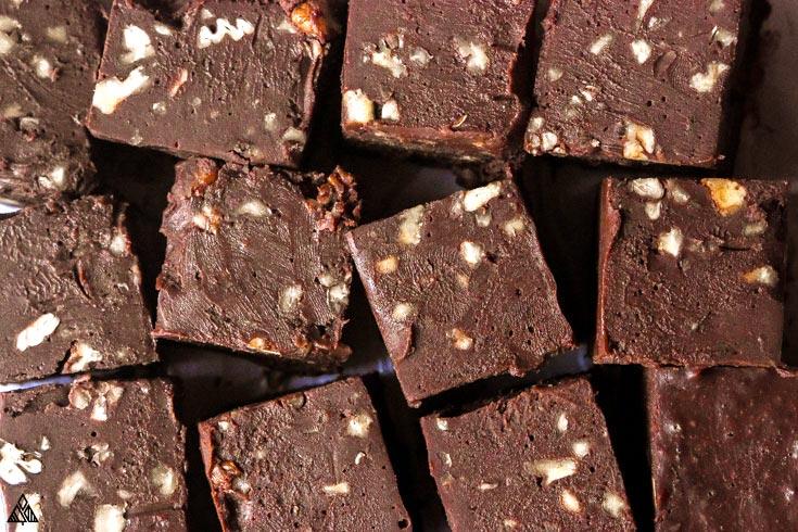 Closer look of low carb fudge