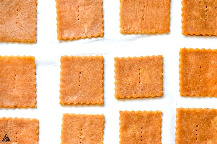 Raw low carb graham crackers in a parchment paper