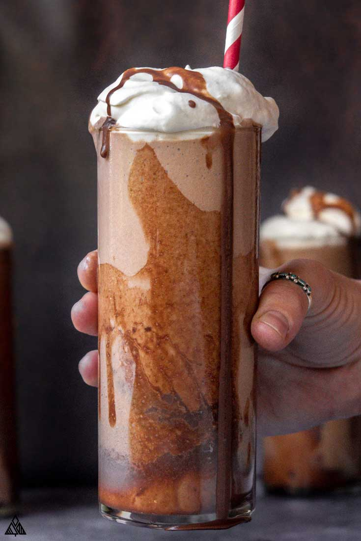 Hand holding a glass of low carb milkshake