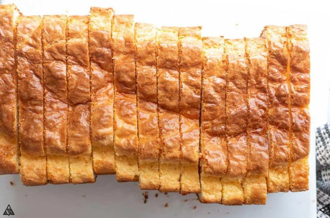 Top view of a sliced loaf low carb soul bread