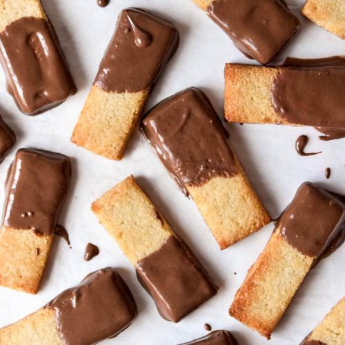 low carb shortbread cookies dipped in chocolate