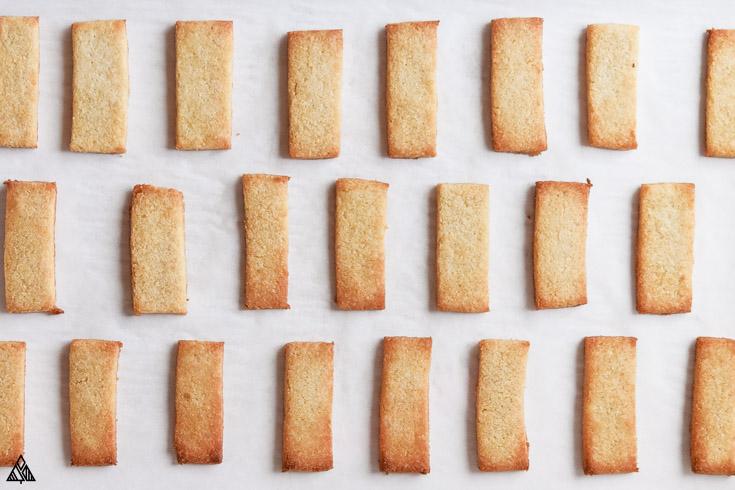 Almond flour shortbread cookies in a parchment paper