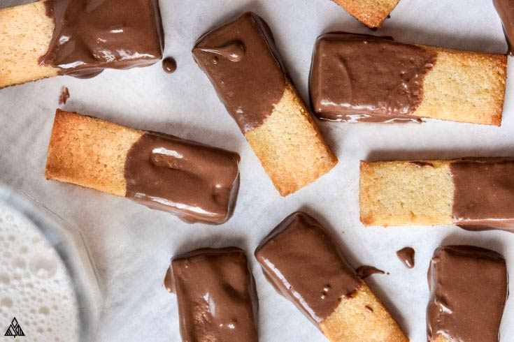 Top and closer look of almond flour shortbread cookies