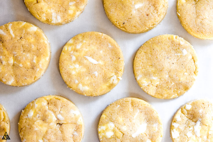Raw almond flour biscuits in a parchment paper