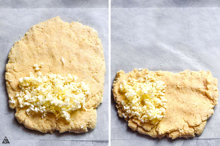 Preparing the dough to form almond flour biscuits