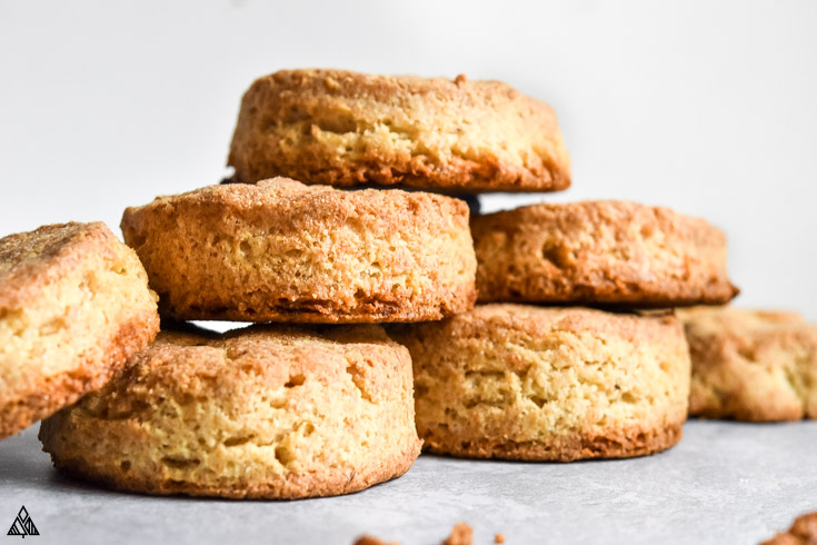 Side view of almond flour biscuits