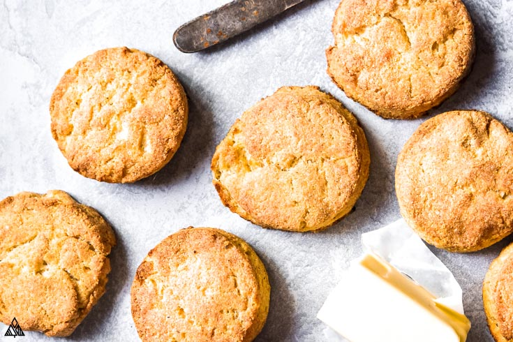 Top view of almond flour biscuits