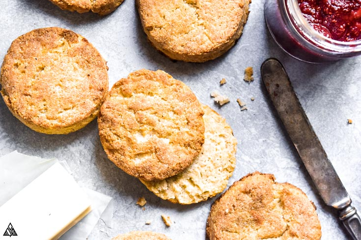 Closer look of almond flour biscuits