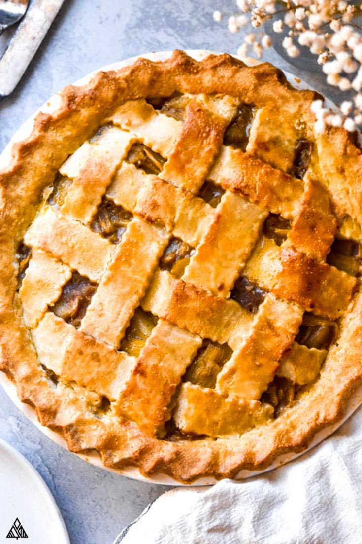 Top view of low carb apple pie using almond flour pie crust