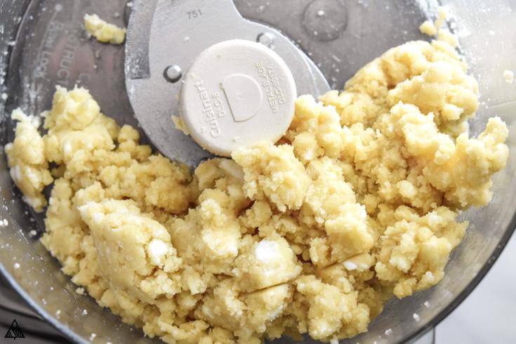 Almond flour dough in a food processor