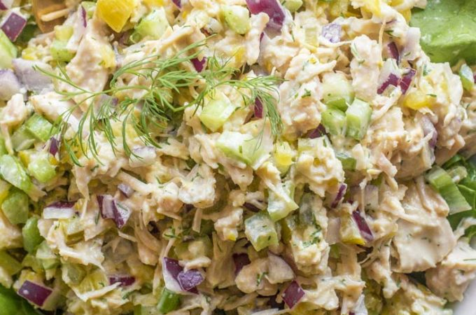 Canned chicken salad in a plate