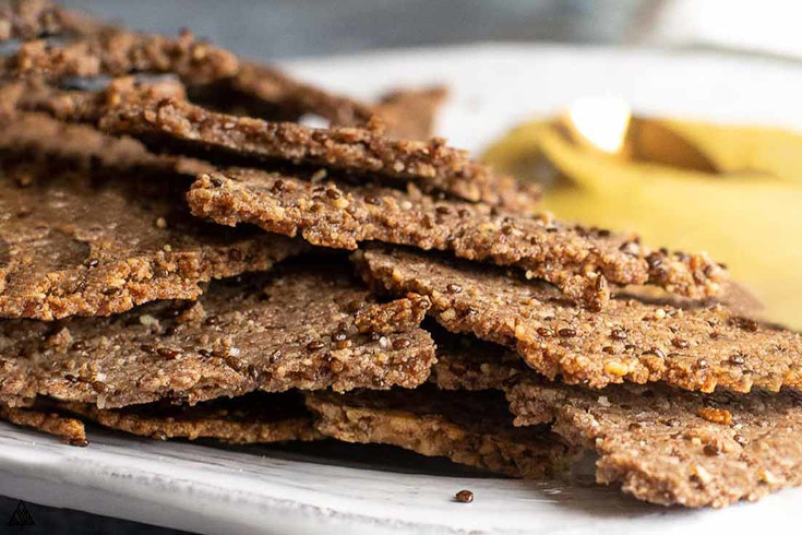 One of the best low carb snacks on the go is flax seed crackers