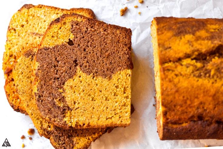 A slice of healthy pumpkin bread