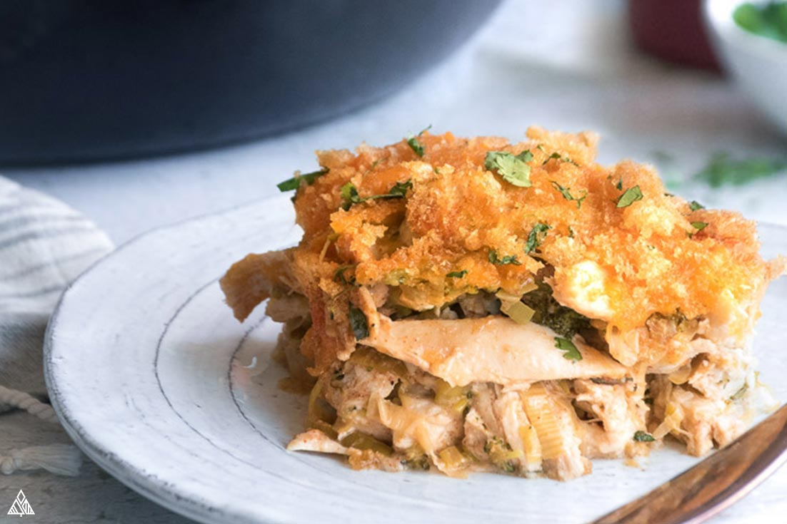 Closer look of low carb chicken casserole in a plate