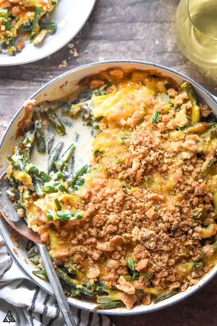 Top view of low carb green bean casserole