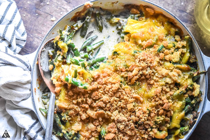 Low carb green bean casserole with a spoon