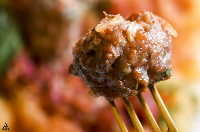 low carb meatballs in a fork