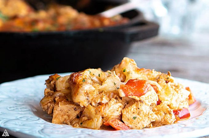 Plate with low carb mexican casserole