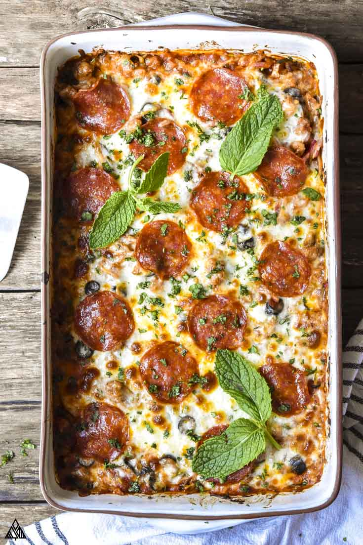 new bake low carb pizza casserole