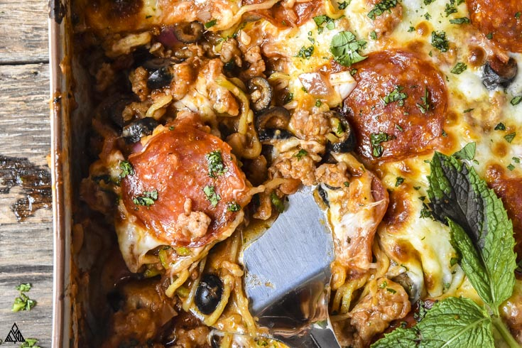 closer look of low carb pizza casserole