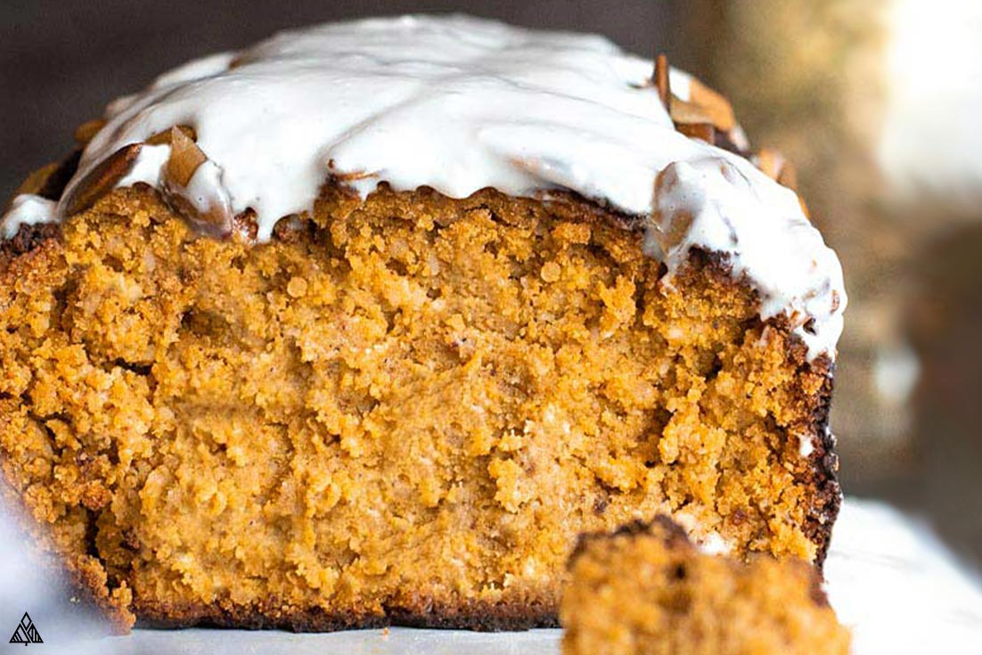 Closer look of sliced low carb pumpkin bread