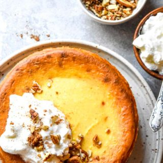 Top view of low carb pumpkin cheesecake