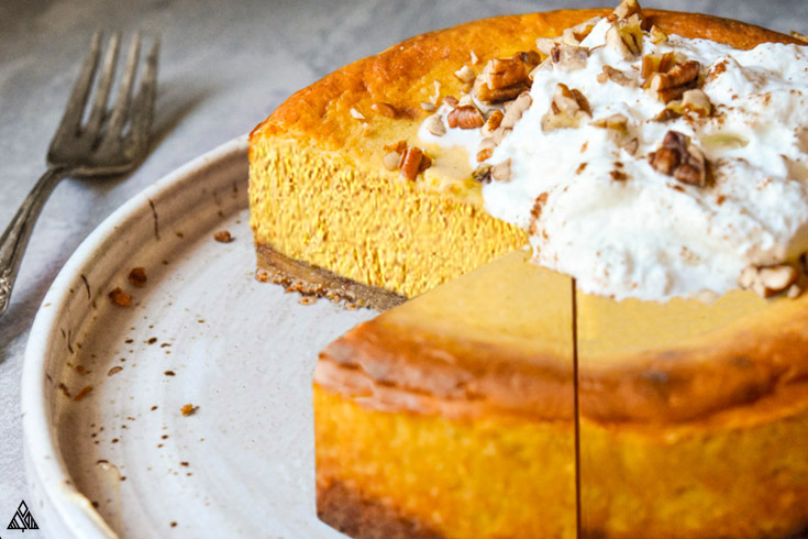 Side view of low carb pumpkin cheesecake