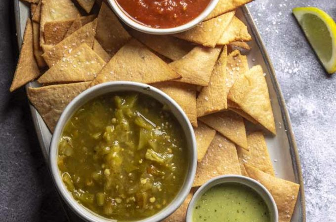 Low carb tortilla chips with 3 different dip