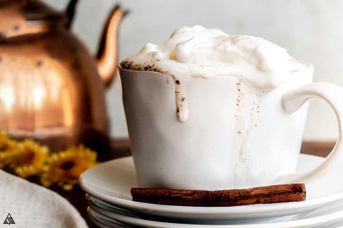 A mug of sugar free pumpkin spice latte
