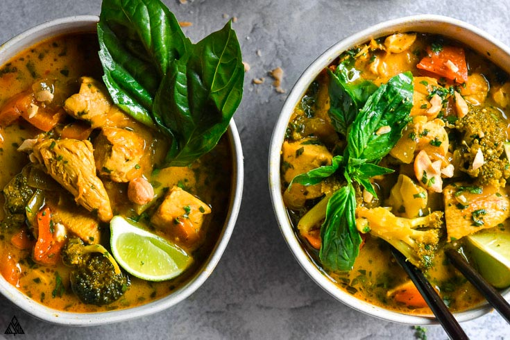 2 bowls of chicken curry soup