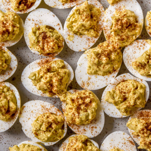 Top view of classic deviled eggs