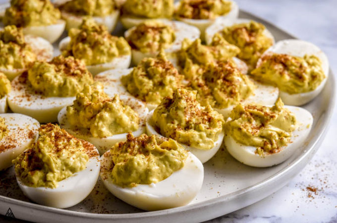 Classic deviled eggs in a plate