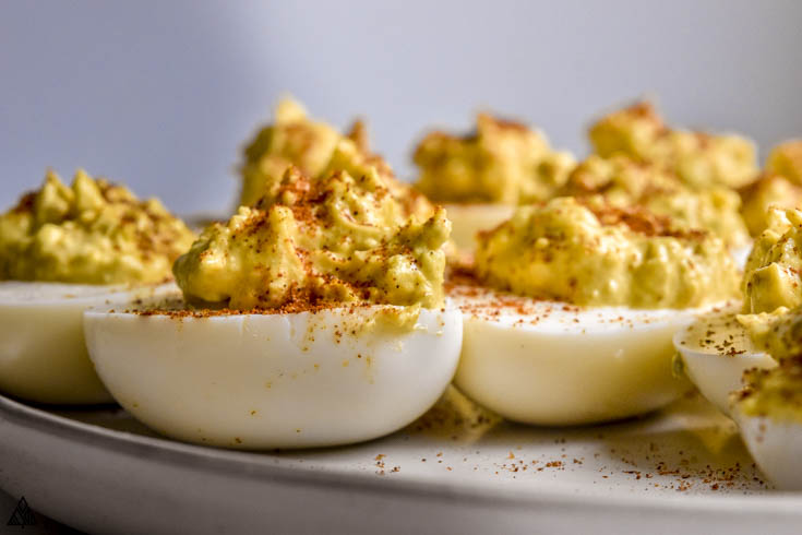 Closer look of classic deviled eggs