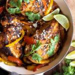 Fajita stuffed chicken in a pan