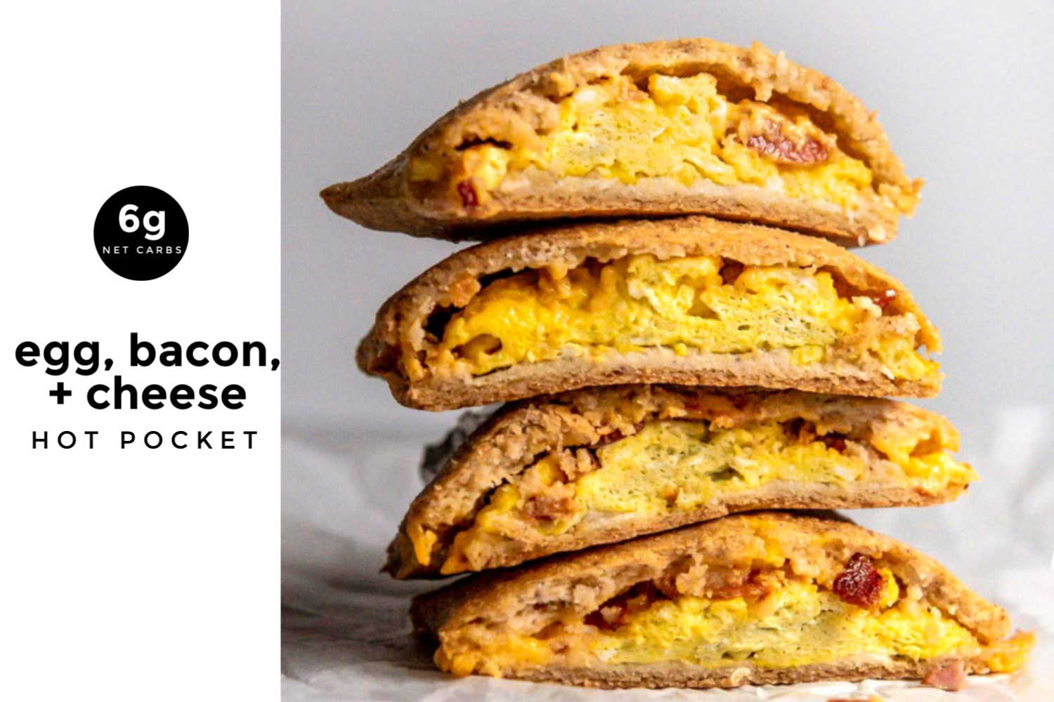 breakfast keto hot pockets with eggs, bacon and cheese