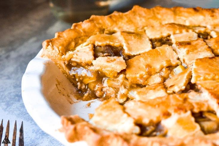 Closer look of the taken part og low carb apple pie