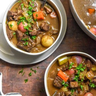 Top view of 2 bowls of low carb beef stew