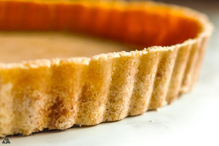 Side view of low carb graham cracker crust