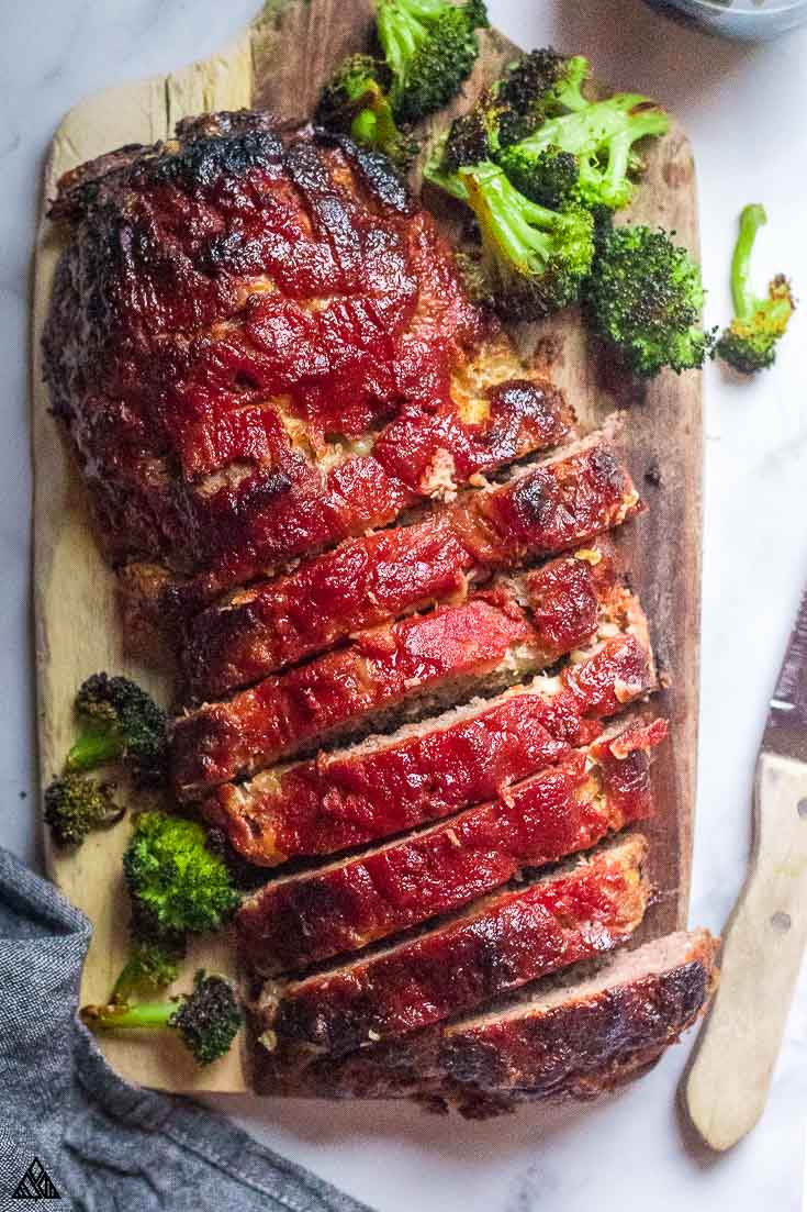 Top view of low carb meatloaf