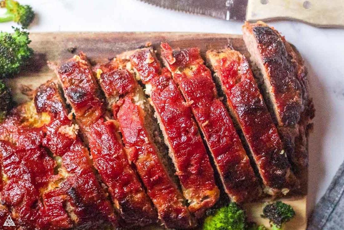 Closer look of sliced low carb meatloaf