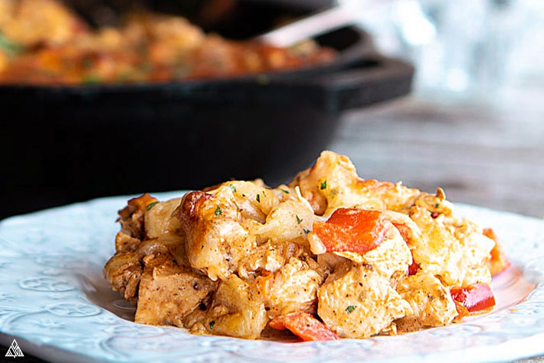 low carb mexican casserole in a plate