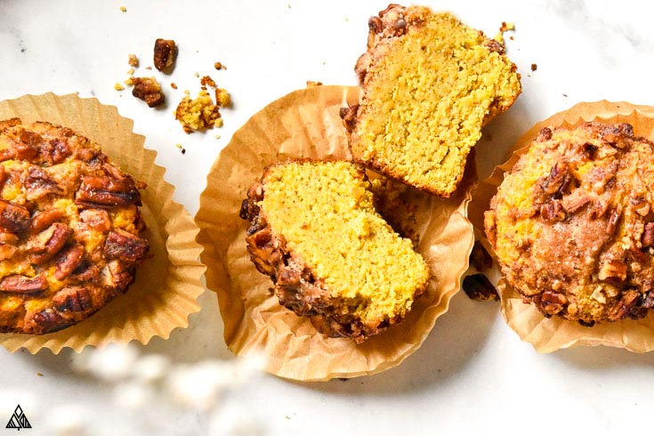 Low carb pumpkin muffins on a white background