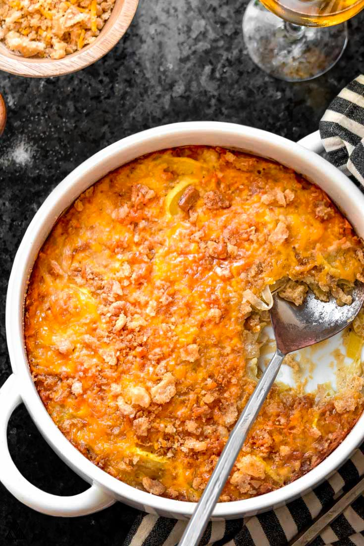 Top view of low carb squash casserole