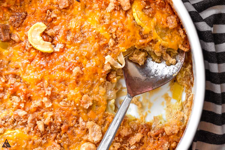 Closer look of low carb squash casserole with a spoon