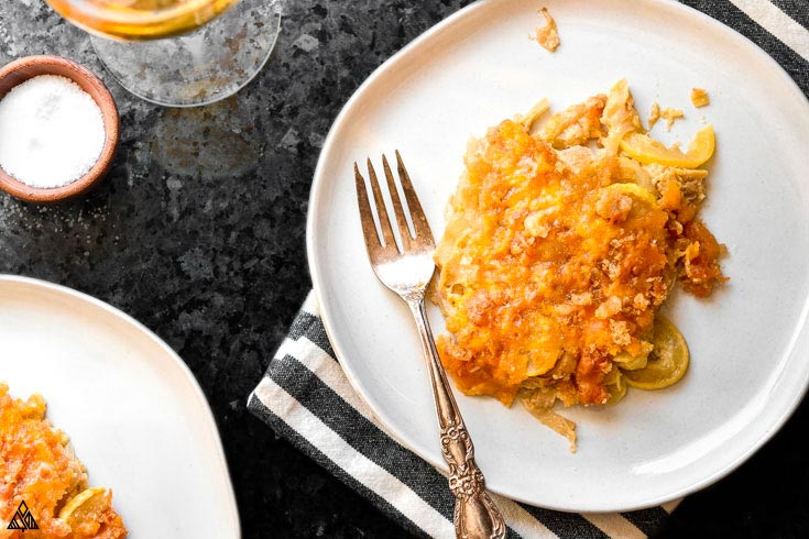 A slice of low carb squash casserole in a plate