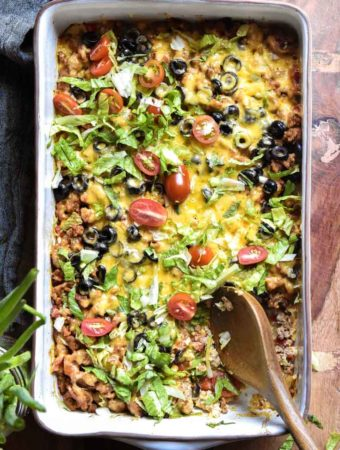 top view of a low carb taco casserole